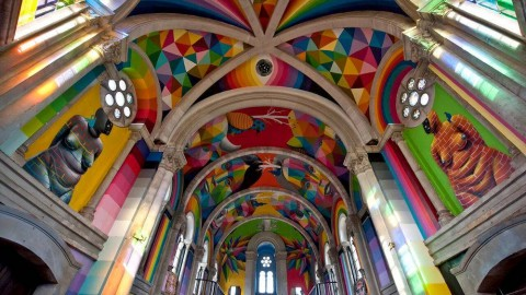 AN ABANDONED CHURCH IS TRANSFORMED INTO A COLORFUL SKATEPARK